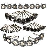 HOMEJIA, 45 spazzole in filo di acciaio per penne, coppe, lucidatura, accessori con gambo per trapano rotativo Dremel