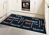 Traum Küchenläufer Küchenteppich waschbar mit Schriftzug Guten Appetit in Schwarz Rot Größe 80x150 cm