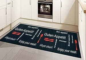 k chenl ufer k chenteppich waschbar mit schriftzug guten appetit in schwarz rot gr e 80x150 cm. Black Bedroom Furniture Sets. Home Design Ideas