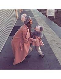 wildeal 2pcs juego de mamá bebé gorro de punto de invierno cálido lana de doble con diseño de pelo mujer niñas ganchillo trenzado de Cap pompón Beanies Kit rosa Rosa