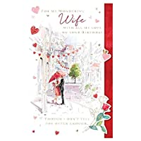 Large Wife Birthday Card - (LD-PP0046) - The Meeting - Couple Under Red Umbrella - from Ling Design Range - Foiled & Flittered Finish