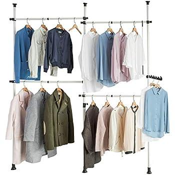 SoBuy FRG34 Regalsystem mit 3 K/örben und 3 Kleiderstangen WandmontageTeleskop Garderoben System Verstellbares Ordnungssystem