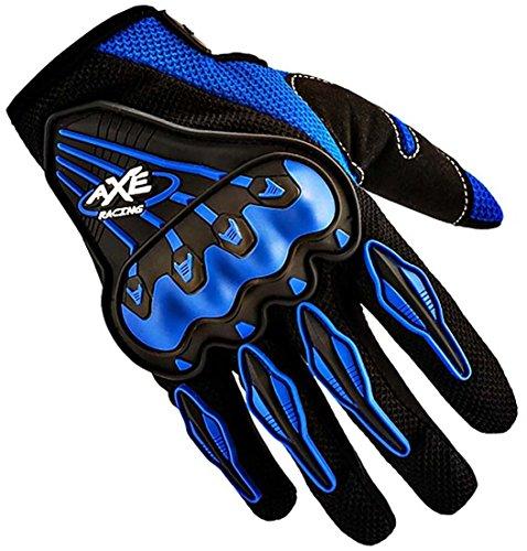 Bikestuff Full Fingered Motorcycle Riding Gloves, Blue/Black B-Gl24Xl