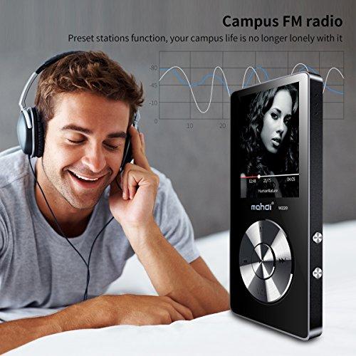 MYMAHDI Reproductor de MP3portátil de 8GB (ampliable a 128GB), reproductor de música/radio FM/grabadora de voz 70horas de reproducción con una tecla con altavoz externo HD auriculares, negro