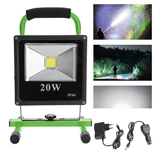VINGO® 20W LED Foco Recargable Blanco frío Floodlight