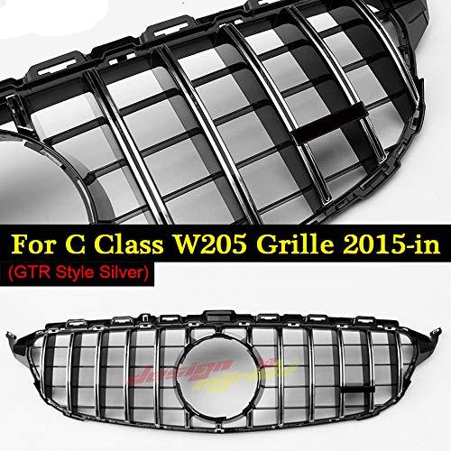 AniFM GTR Style Grill Sport ohne Logo ABS Silber für Mercedes Benz W205 C Klasse C180 C200 C250 C300 C350 C63 Look Grills ohne Schild 15-18