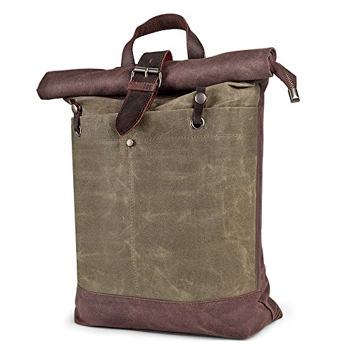 Herren rucksack H-ANDYBAG Waxed Canvas Roll Top Rucksack passt 15 Zoll Laptop und Notebook (Canvas-notebook-rucksack)
