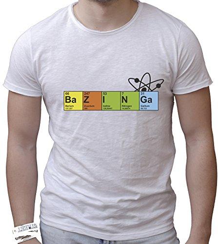 T-shirt cotone fiammato Scollo ampio a taglio vivo - BAZINGA - CHIMICA divertenti humor MADE IN ITALY Bianco