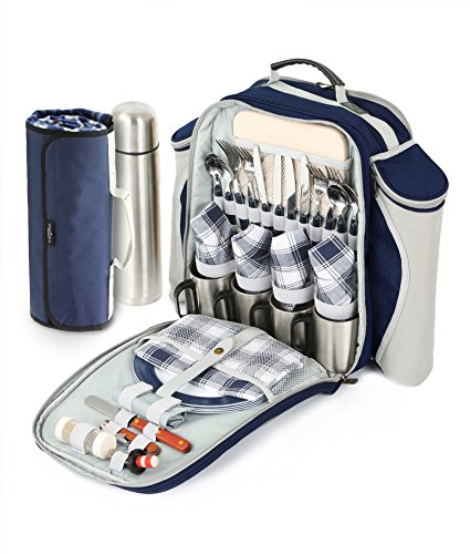 Greenfield Collection Deluxe-Picknick-Rucksack für 2 Personen, mit passender Decke