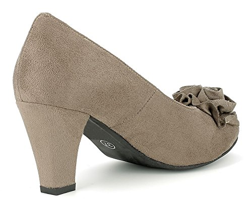 Hirschkogel by Andrea Conti 1000762 - Damen Pumps mit Blume - Taupe Taupe