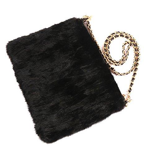 USFUR Frauen Schicke Henkeltaschen aus Echte Fell / Kaninchen Fell Schultertaschen Minitaschen Shopper Messenger Bags Clutches (mehrfarbig) schwarz
