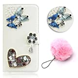 Protective Case for Galaxy A5 (2017 Version),Vandot PU Leather Bling 3D DIY Diamond Luxury Flower Magnetic Flip Stand Wallet Case Scratch-Resistant Slim Fit Case Cover for Samsung Galaxy A5 2017 A520F-Blue Butterfly+Furry Pompom Pendent