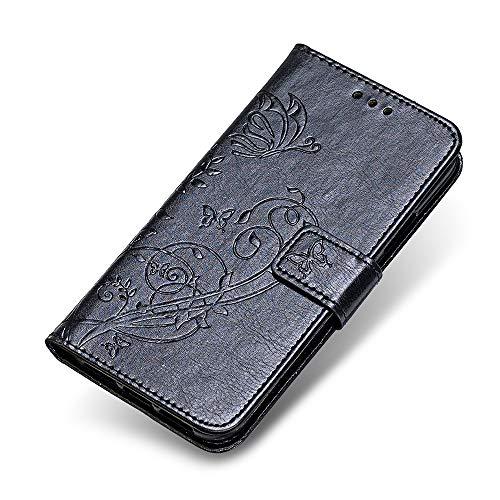 iPhone 6 6S Hülle, The Grafu Premium Lederhülle Standfunktion Schutzhülle mit Kartenfach, Magnet Verschluss, Brieftasche Handyhülle für Apple iPhone 6 / 6S, Schwarz
