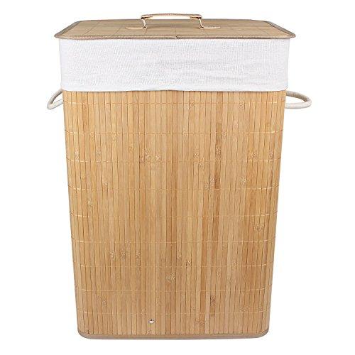 HomeStorie™ Foldable Bamboo Laundry Basket Hamper with Lid, Large – 81 Liter (Light Brown)