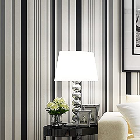BTJC Wallpaper di corridoio camera bambini moderna carta da parati in tessuto non tessuto strisce verticali bianche e nere 3D semplice salotto TV camera da letto , 16103 black and