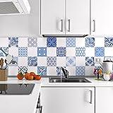 24Aufkleber Fliesen | Sticker Selbstklebend Fliesen–Mosaik Fliesen Wandtattoo Badezimmer und Küche | Fliesen Kleber–AZULEJOS–10x 10cm–24-teilig