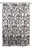 Textil Duschvorhang (PE-Lining) ca. 180x200 cm Ösen Vorhang wasserfest inkl. 12 Ringe Latex Beschwerungsband - Design Steine