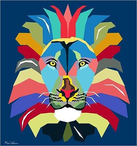 Impression sur bois 20 x 20 cm: lion WPAP de Mark Ashkenazi
