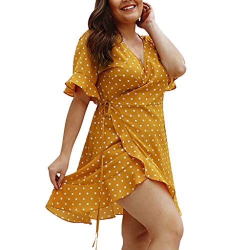 Damen V-Ausschnitt Drucken Rock, LeeMon Women Kurzarm V-Ausschnitt Polka Dot Wrap Minikleid Sommerurlaub Kleid -