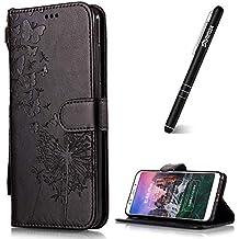 Slynmax - Funda de piel con tapa para Samsung Galaxy A8 Plus 2018 (incluye lápiz capacitivo), diseño de flores, morado