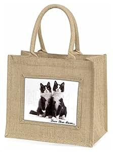 Advanta Zwei Katzen, Love You Mum Große Einkaufstasche Weihnachten Geschenk Idee, Jute, beige/natur, 42x 34,5x 2cm