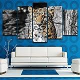 HXZFF Bilder 150x80 cm - Leinwandbilder - Kein Rahmen - Vlies Leinwand - 5 Teilig - Wandbilder - Kunstdrucke - Wandbild - Gepard Tier