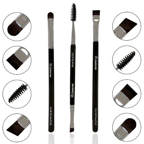 Bestes Augenbrauenpinsel Set - 3 Make Up Augenpinsel - Beauty Makeup Pinsel Set zum Auftragen von Lidschatten, Pomade, Eyeliner, Gel, Wax, Puder und Kosmetik für Perfekte Wimpern und Augenbrauen (Shadow Pinsel)