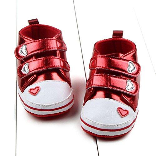 Jamicy® Baby Mädchen Schuhe Mode weichen Sohle Anti-Rutsch Komfort Krippe Schuhe Rot