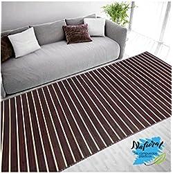 Alfombra de Bambú Natural, de Color Madera Oscuro, con Rayas Beige, Ideal para Salón/Comedor, de 180cm X 250cm - Hogar y Más