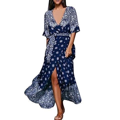 Sexy Femmes Demi manche Fleur Imprimé Col V Plage Fête Casual Maxi longue Robe (M, Bleu)