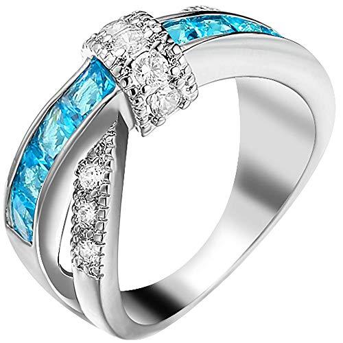 KLMFG Edelstahl Schmuck Frauen weißes Gold überzogenes Blau Aquamarin Runde Princess Cut CZ X Criss Cross Ring Eternity Wedding Band