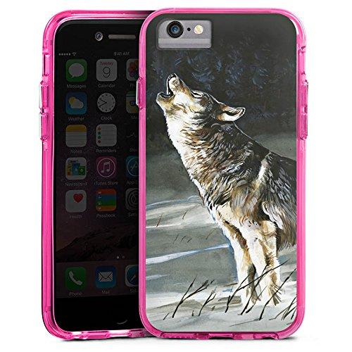 Apple iPhone 7 Plus Bumper Hülle Bumper Case Glitzer Hülle Wolf Schnee Snow Bumper Case transparent pink