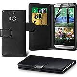 i-Tronixs (schwarz) <b> HTC One M8s Hülle Tasche Schutzhüllel </ b> Case Premium Quality Book PU-Leder-Mappen-Schlag mit Kredit- / Bankkarte Slot-Kasten-Haut-Abdeckung mit LCD-Display Schutzfolie, Poliertuch und Mini-versenkbaren Stylus Pen