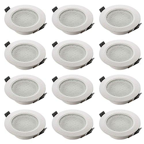 Sebson® 12x Foco empotrable Techo, para baño (IP44), Redondo, Blanco Mate, Aluminio,...