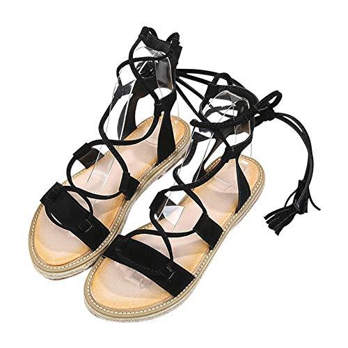 Goyajun Sandali Gladiatore da Donna - Cinturino alla Caviglia con Lacci Vintage Scarpe Romane Comfort Sandali Antiscivolo Impermeabili 40 Nero