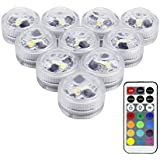 LUXJET® 10er Pack Mini RGB LED Luz Sumergible, Color Cambio, Control Remoto Lámpara Impermeable Subacuática Acento Luz Para Estanque Acuario