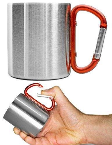 Outdoor Saxx® - Outdoor-Becher, Camping-Tasse | kompakt leicht 180 ml mit geschraubtem rotem Karabiner-Griff Edelstahl | für Wandern, Trekking, Arbeit