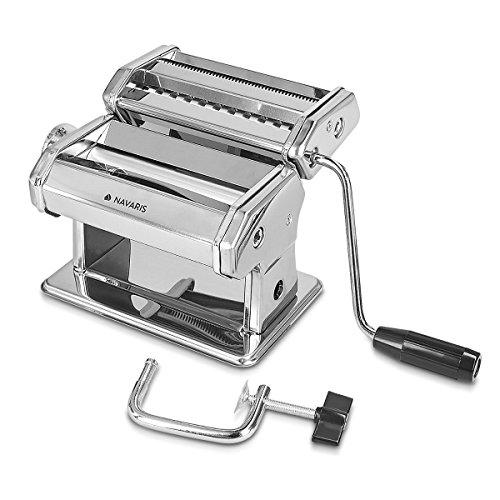 Navaris Nudelmaschine Pasta Maschine manuell - Pastamaker für Spaghetti Lasagne Nudeln - Nudel Maschine aus verchromtem Stahl - 9 Teig Stufen