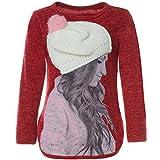 BEZLIT Mädchen Pullover 3D Motive Mütze Pulli Langarm Sweatshirt 21594, Farbe:Rot, Größe:140