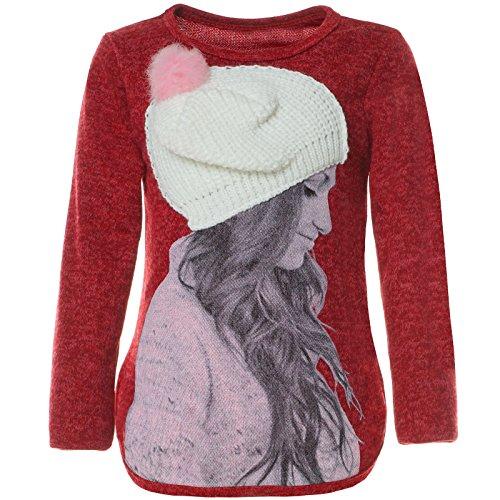over 3D Motive Mütze Pulli Langarm Sweatshirt 21594, Farbe:Rot, Größe:140 (Mütze Und Kleid Für Den Kindergarten)