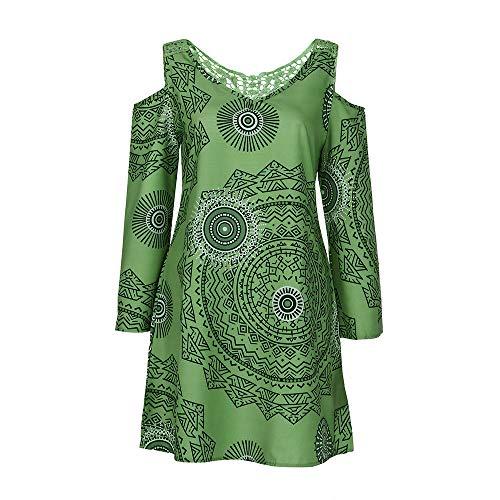 Damen Sun Kleider Langarm Kleid Minikleider Blumenkleid Drucken Strandkleid Vintage Abendkleid Hohe...