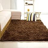 Alfombra Shaggy, 7 colores lisos 6 cm gruesos, 15 tamaños, 160 * 200 cm Soft Pile moderna 100%...