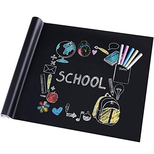 Rabbitgoo Lavagna Adesiva,Memo da Parete,Stickers Nota Appunto Rimovibile Per Scuola/Ufficio/Casa 44.5cm x 200cm con 5 Gessetti