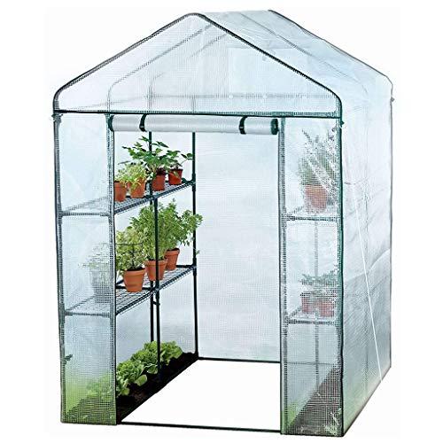ZCCWS Kompaktes begehbares Gewächshaus zum Pflanzen eines überdachten Hauses, weiß