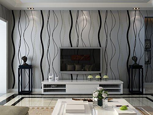*schwarzgrau moderne schlichte elegente umweltfreundliche Linie Muster seidenfaden Vliestapete Wandetapete fuer Wohnzimmer,Schlafzimmer,Hintergrund*