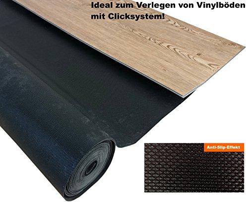 """15 m² Vinyl Trittschalldämmung """"uficell VinoSmart² - 1,5 mm Starke Unterlage für Voll Vinylböden und LVT-Böden ohne Trägerplatte - Tritt & Gehschalldämmung mit Anti-Slip-Effekt für die sichere Verlegung von Vollvinylböden mit Klicksystem mit einer Stärke von ca. 4-5 mm - Dichte ca. 160 kg/m³ - Druckstabilität: 50 kpA - (15 m² Rolle)"""