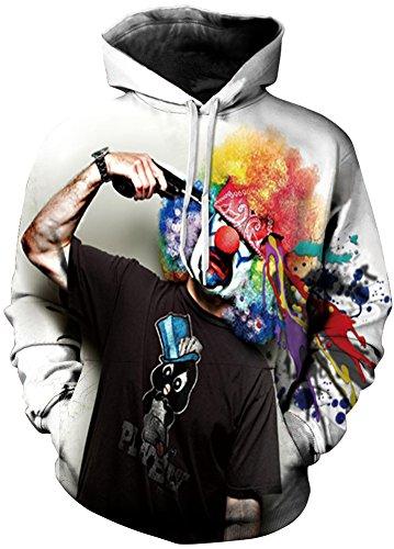 TDOLAH Herren Slim Fit Kapuzenpullover 3D Druck Sweatshirt Pullover (Größe L / XL, Clown)