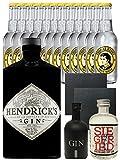 Gin-Set Hendricks Gin Small Batch 0,7 Liter + Black Gin Gansloser Deutschland 5cl + Siegfried Dry Gin Deutschland 4cl + 12 x Thomas Henry Tonic Water 0,2 Liter + 2 Schieferuntersetzer quadratisch 9,5 cm