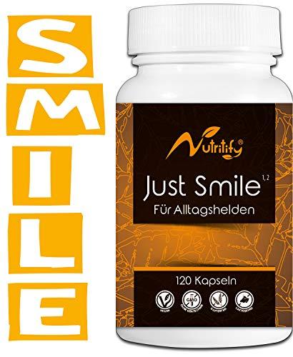JUST SMILE - für ALLTAGSHELDEN - Mit B6² und B12³ für das Nervensystem und die Psyche - natürliches Mittel mit 500mg Baldrian, L-Tryptophan (Serotonin-Vorstufe), Passionsblume, Lavendel - 120 Kapseln