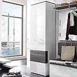Garderobenschrank in weiß Hochglanz/grau, 1 Tür, 5 Einlegeböden, breite 65 cm, Höhe 200 cm, Tiefe 40 cm